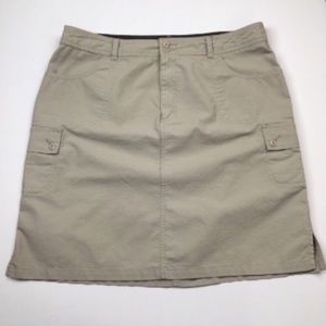 Eddie Bauer Hiking Khaki Cargo Cotton Skirt Sz 18